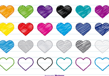 Colorful Scribble Hearts Set - Free vector #358473