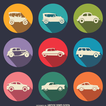 Flat vintage cars icon set - vector gratuit #359063