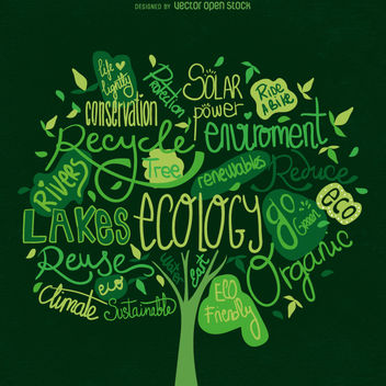 Earth Day tree vector - Free vector #359093