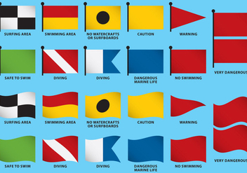 Beach Flag Vectors - Kostenloses vector #359513