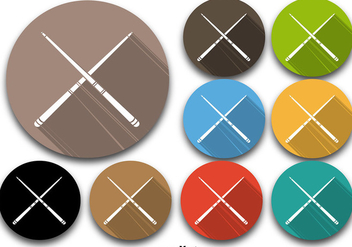 Colorful Pool Sticks Vector Icons - Free vector #360263
