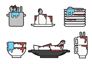 Dirty Dishes Vector - vector gratuit #360413