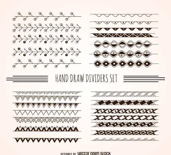 Hand drawn dividers set - vector #360533 gratis