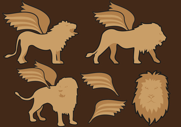 Winged Lions Illustrations Vector Free - Free vector #360803