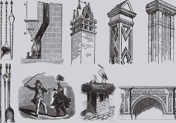 Old Style Drawing Chimneys - vector gratuit #360923
