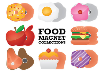 Food Fridge Magnet Collection Vectors - Free vector #360993