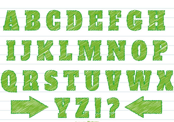 Green Scribble Style Alphabet Set - Free vector #361033