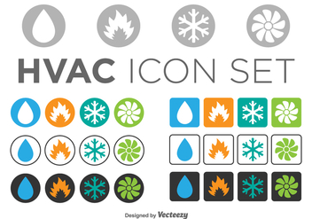 Set Of HVAC Icons, Circle And Square Templates - Free vector #361083