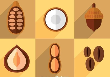 Nuts Flat Icons Vector - бесплатный vector #361243