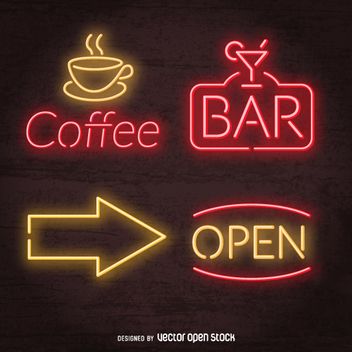 Neon pub signs set - Free vector #361343