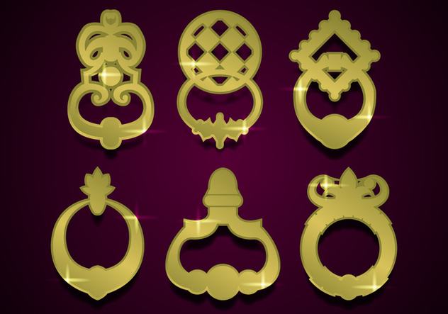 Door Knocker Gold Illustration Vector - vector gratuit(e) #361513