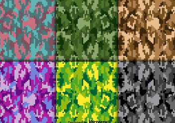 Bright Vector Digital Camouflage Texture Set - Free vector #361623