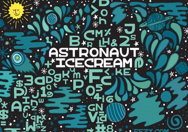 Astronaut Ice Cream Vector Font - бесплатный vector #361763