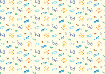 Summer Beach Icons Pattern - vector gratuit #361843