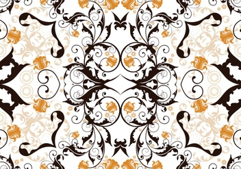 Charcoal and Orange Abstract Floral Background - Free vector #362203