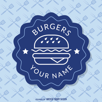 Blue fast food insignia - vector #362283 gratis
