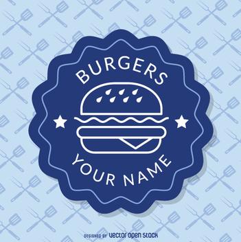 Blue fast food insignia - бесплатный vector #362283