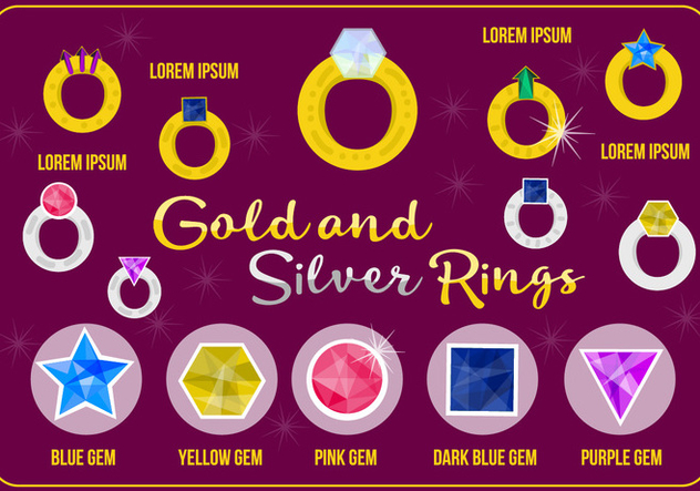 Free Gold And Silver Rings Vector - Free vector #362433
