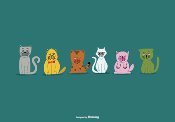 National Pet Week Cat Vectors - Free vector #362593