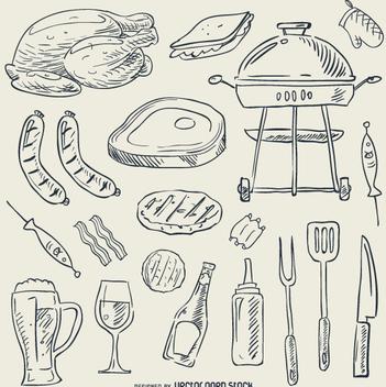 BBQ doodle set - Free vector #362963