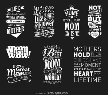 Mother's Day quotes vector set - vector gratuit #363433