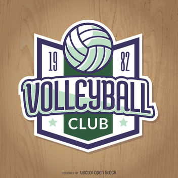 Vintage volleyball badge in green and blue - vector gratuit #363503