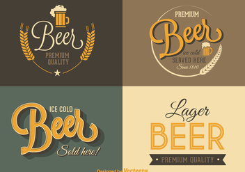 Free Retro Beer Vector Labels - Kostenloses vector #363553