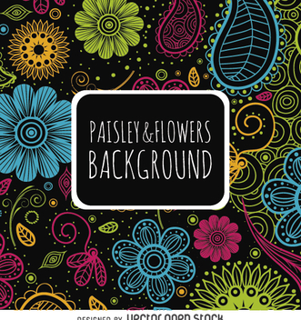 Floral paisley backdrop in bright colors - Free vector #364233