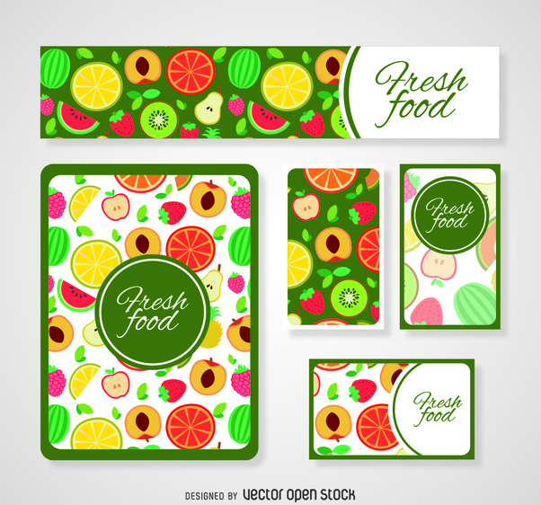 Colorful fresh food card templates - бесплатный vector #364453