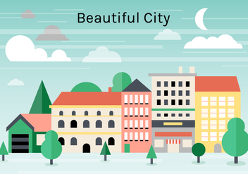 Free Flat Urban Landscape Vector Background - Kostenloses vector #365333