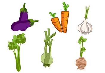 Isolated Vegetables & Herb Vector - vector gratuit #365643