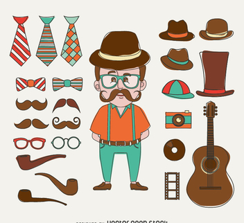 Hipster illustration with elements - vector gratuit #366643