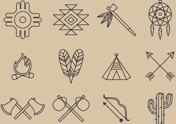 Native American Line Icons - Free vector #366833