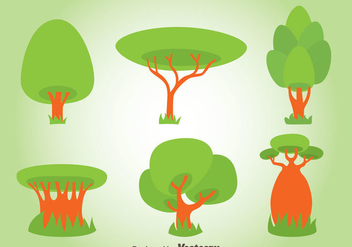Green Tree Vector Set - Kostenloses vector #367653