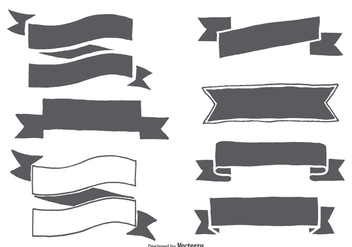 Hand Drawn Ribbon Shapes - Free vector #367673