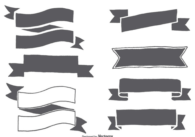 Hand Drawn Ribbon Shapes - vector gratuit #367673