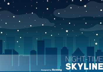 Night Skyline Vector Background - Free vector #367843