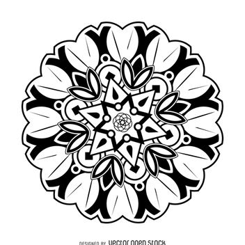 Flower mandala drawing - Free vector #367913