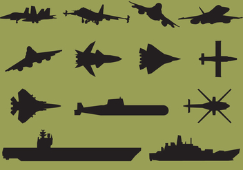 Aircraft Carrier Silhouettes - vector gratuit #368253