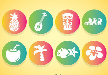 Hawaii Element Icons Vector - Free vector #368353