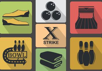 Vintage Bowling Icon Vectors - Free vector #368653