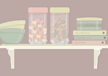Kitchen Shelf Elements Vector Set - Free vector #369773