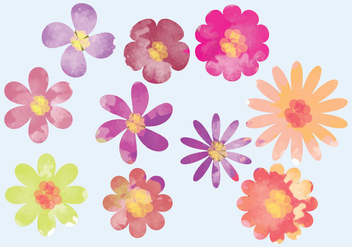 Vector Watercolor Bright Flower Elements - vector gratuit(e) #369803