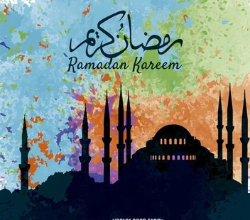 Colorful Ramadan Kareem poster - Free vector #370233