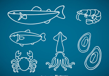 Seafood Outline Vector - бесплатный vector #370353