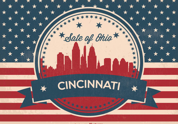 Retro Cincinnati Ohio Skyline Illustration - Free vector #370433