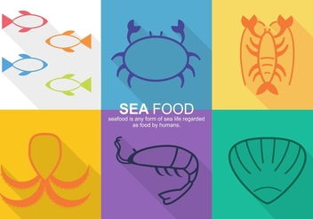 Sea Food Vector Icons - Free vector #370473