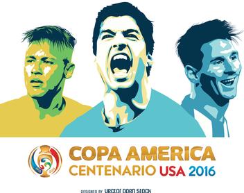 Messi Suarez Neymar Copa America - Free vector #370713