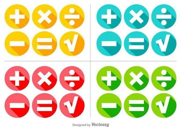 Vector Colorful Math Symbols Buttons Set - Free vector #370943