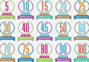Colorful Anniversary Titles - бесплатный vector #371933